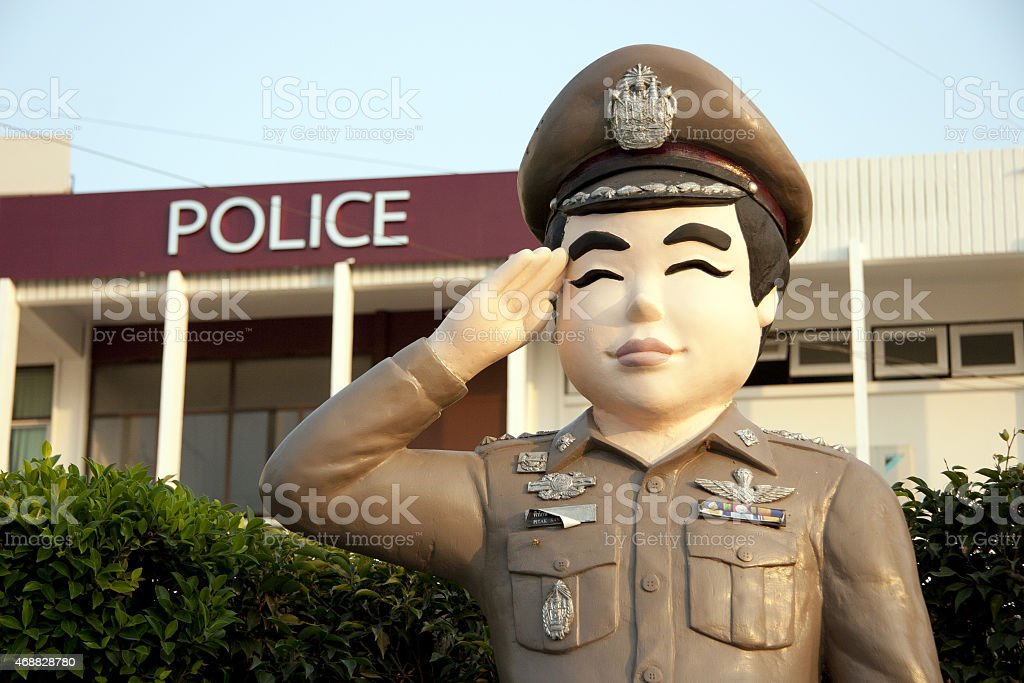 statue Thai police stock photo