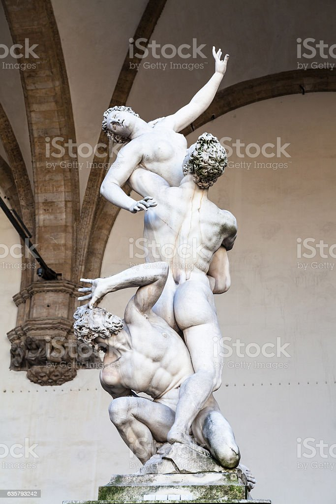 statue The Rape of the Sabine Women on Piazza stock photo