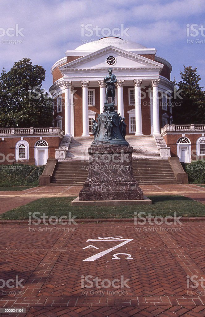 Statue Thomas Jefferson Rotunda at University of Virginia Charlottesville Virginia stock photo