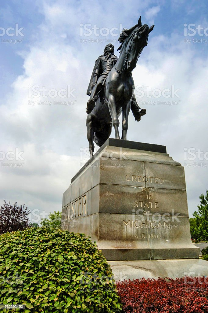 Statue to General George Custer in Monroe MI stock photo