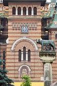 statue with wolf symbol of Timisoara Romania