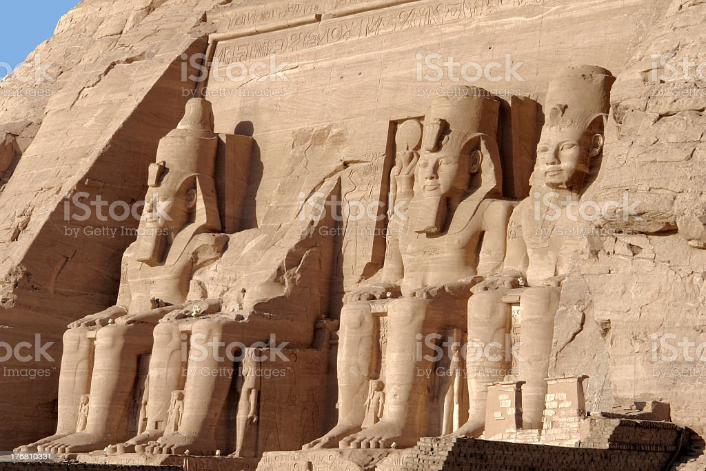 statues at Abu Simbel temples stock photo