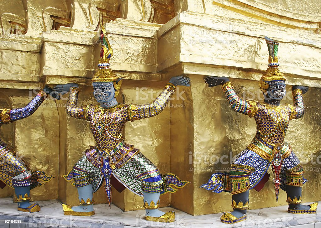 Statues at the Grand Palace, Bangkok, Thailand. royalty-free stock photo