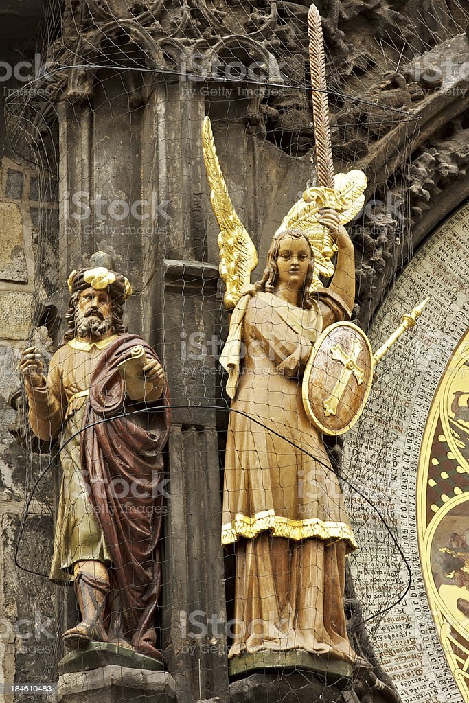 Statues close up of Prague Astronomical Clock royalty-free stock photo