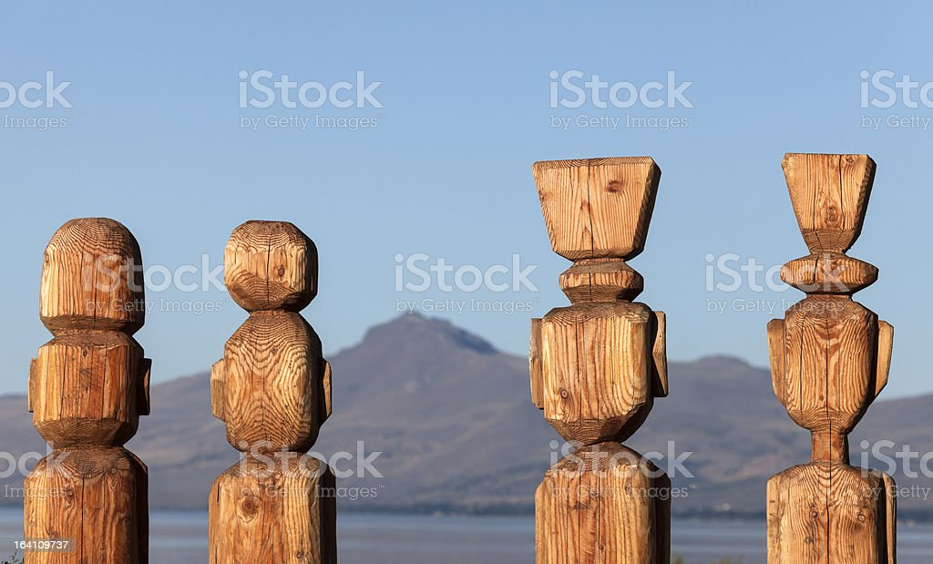 Statues in Bariloche royalty-free stock photo