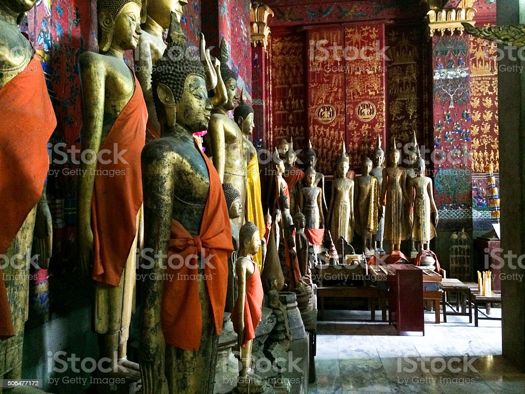 Statues In Buddhist Temple stock photo