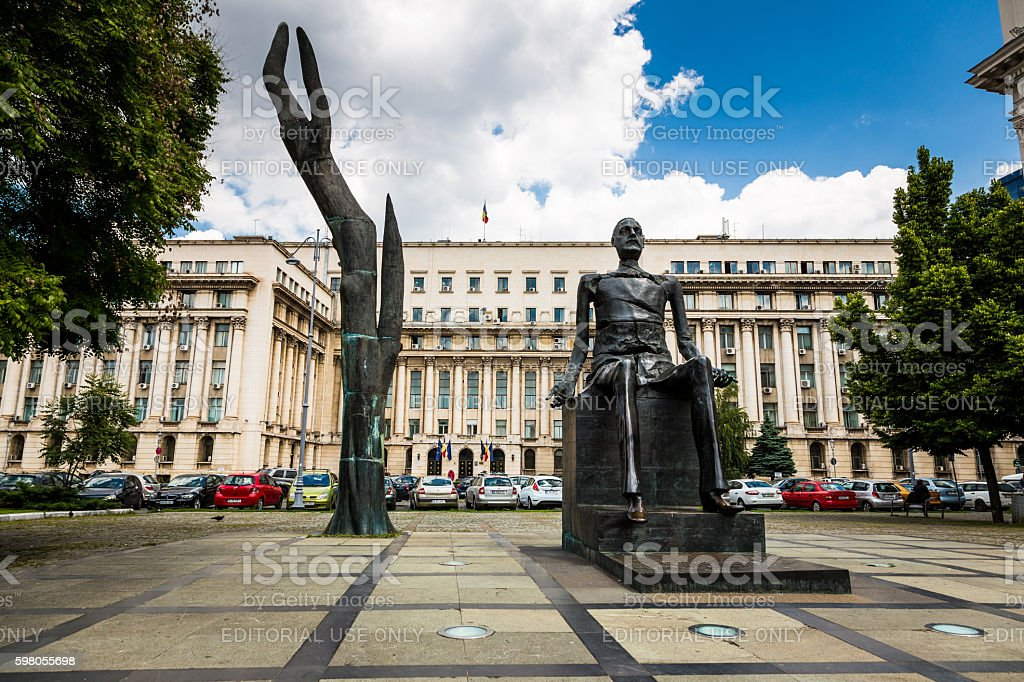 Statues in city square in downtown Bucharest, Romania stock photo