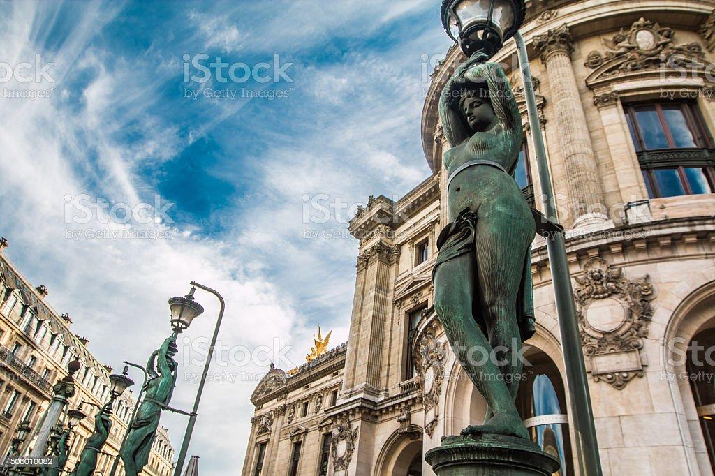 Statues in Paris Opera stock photo