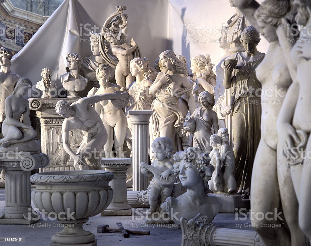 Statues in sculptor's workshop stock photo
