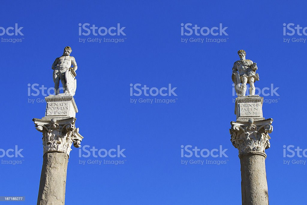 Statues in the center of Seville, Spain stock photo