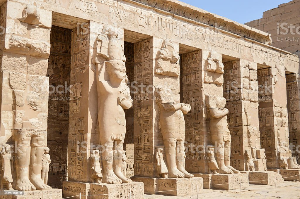 Statues in the temple at Medinat Habu stock photo