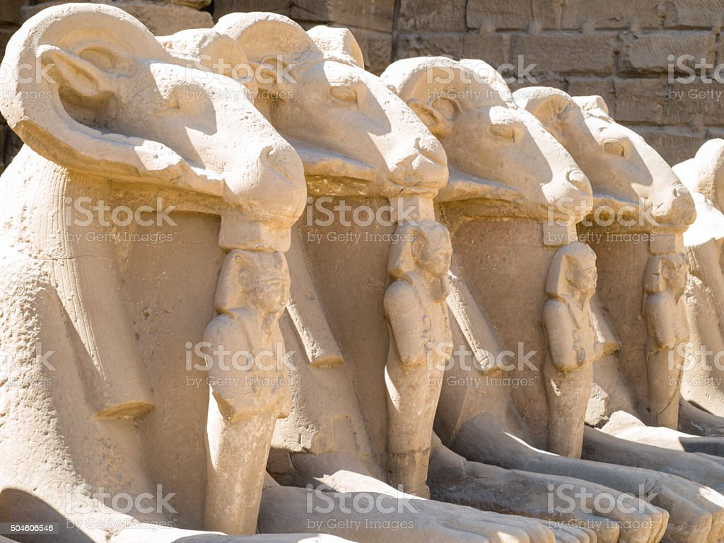 Statues in the Temple of Karnak in Luxor, Egypt stock photo