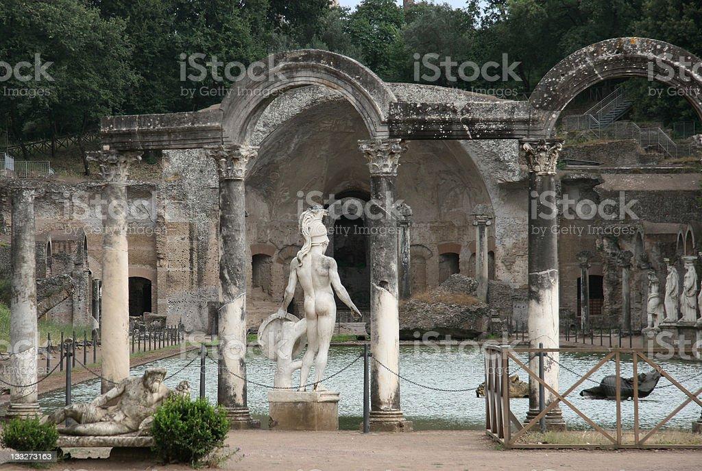 Statues in Villa Adriana stock photo