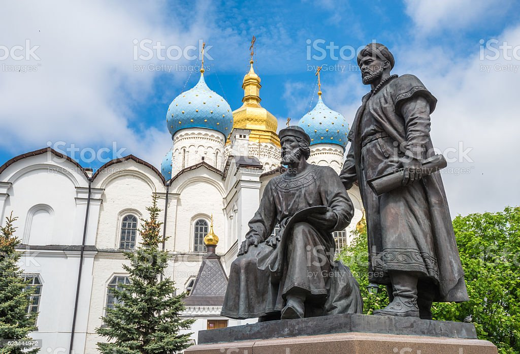 Statues of architects, Kazan Kremlin, Russia stock photo