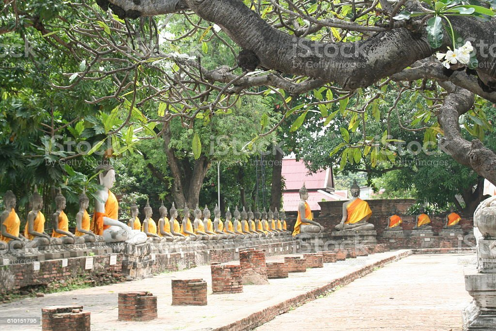 Statues of Buddha in Wat Yai Chai Mongkhon, Ayutthaya stock photo