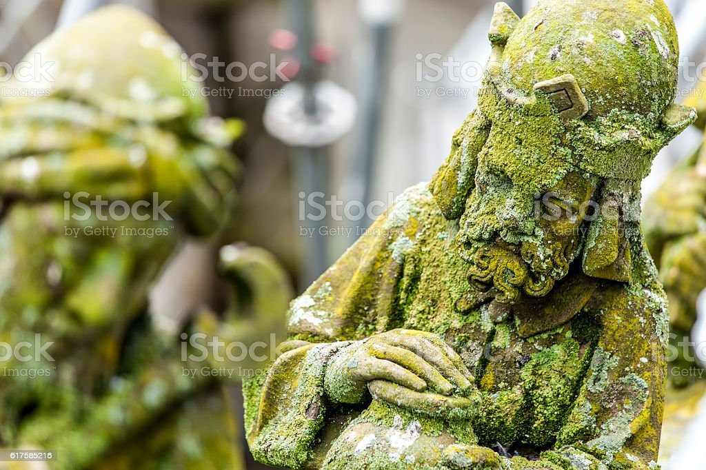 Statues of decorative and fantasy figures stock photo