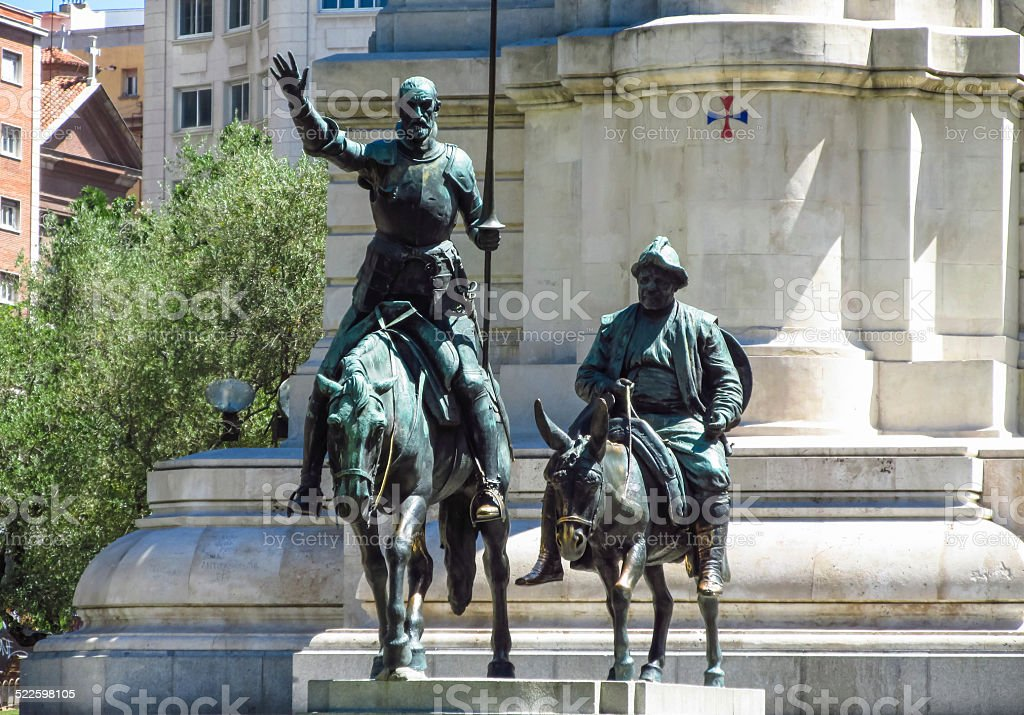 Statues of Don Quijote and Sancho Panza stock photo