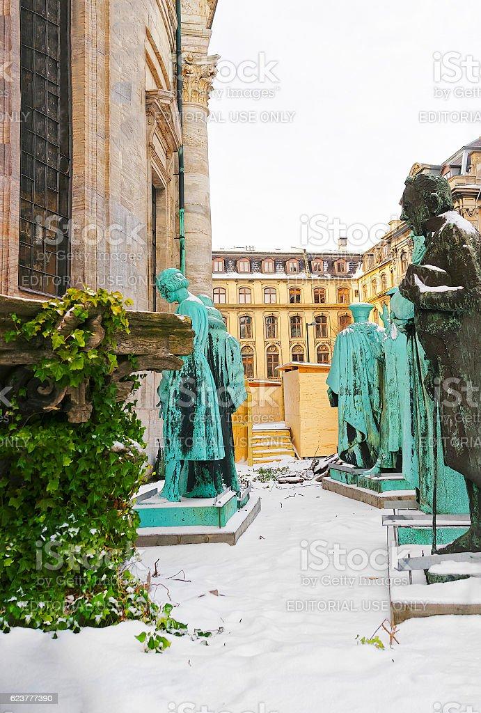 Statues of Frederiks Church in Copenhagen in winter stock photo