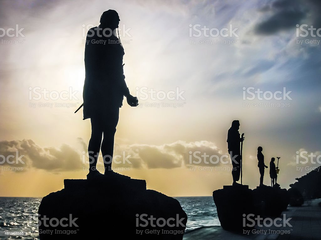 Statues of Guanches Kings stock photo