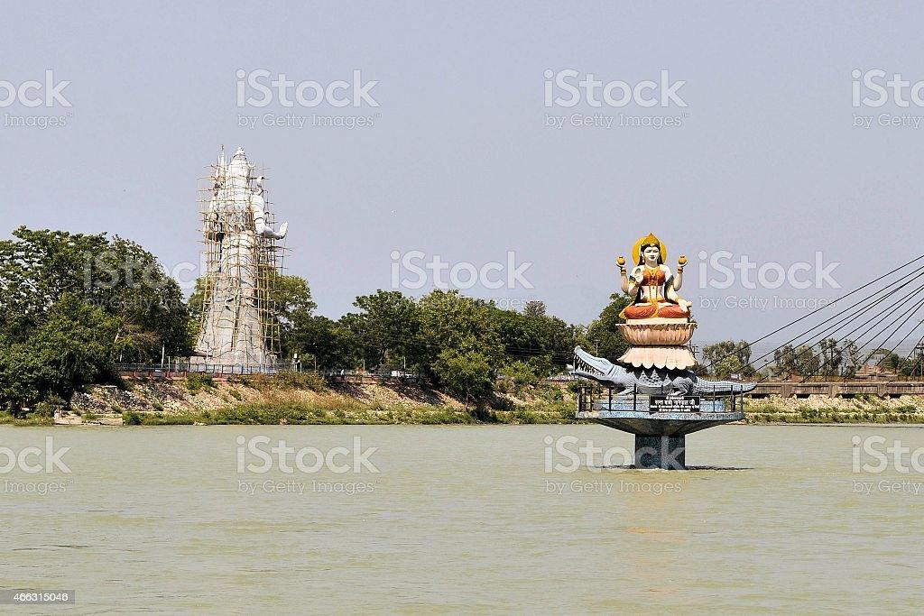 Statues of Hindu gods Ganga and Shiva in Haridwar stock photo