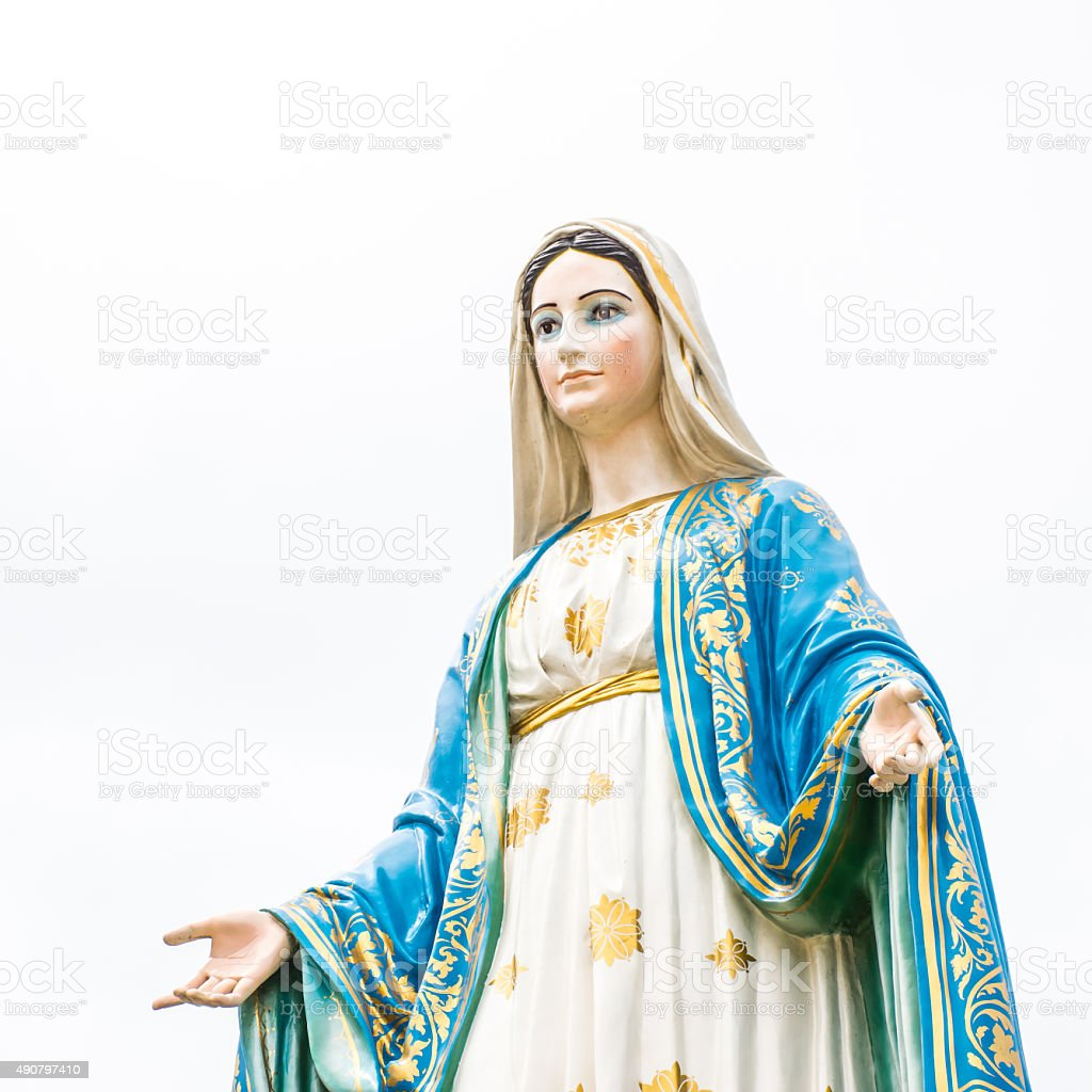 Statues of Holy Women on cloudy sky background stock photo