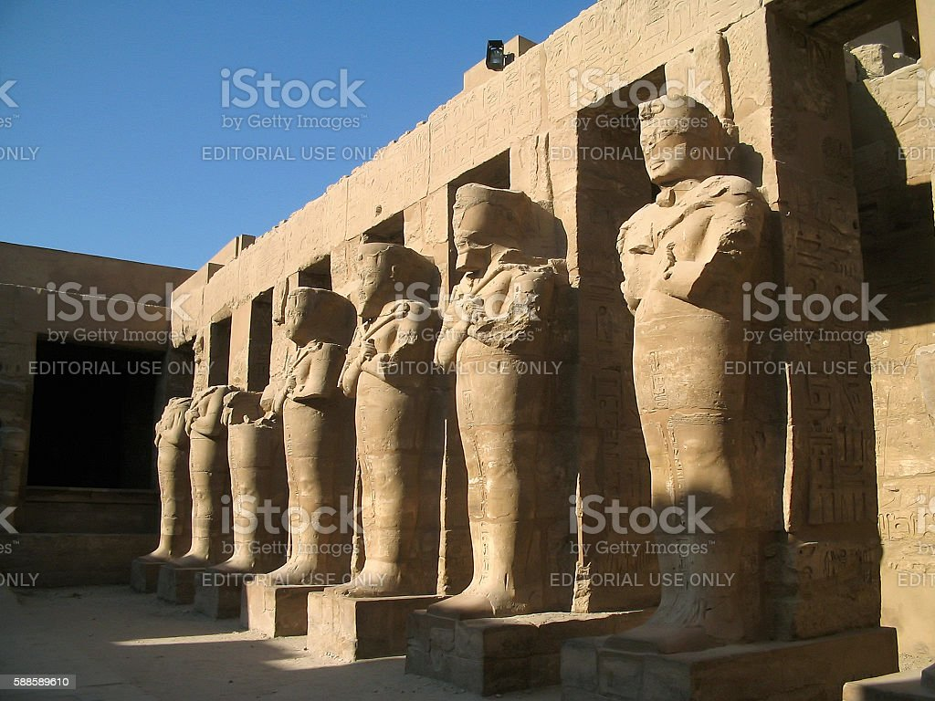 Statues of Ramses III in the Karnak Temple stock photo