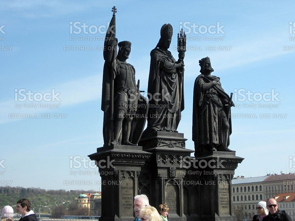 Statues of Saints Norbert, Wenceslas and Sigismund in Prague stock photo