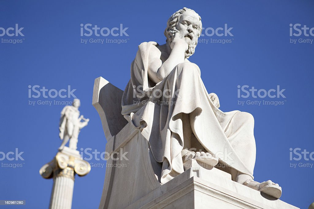 Statues of Socrates and Apollo in Athens, Greece stock photo
