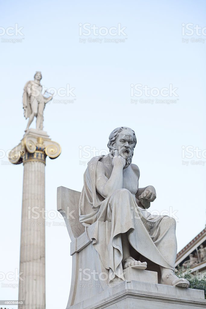 Statues of Socrates and Apollo in Athens stock photo
