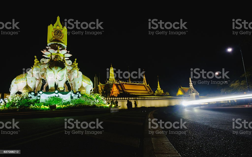 statues of Thai White Elephants at Emerald Buddha Temple. stock photo