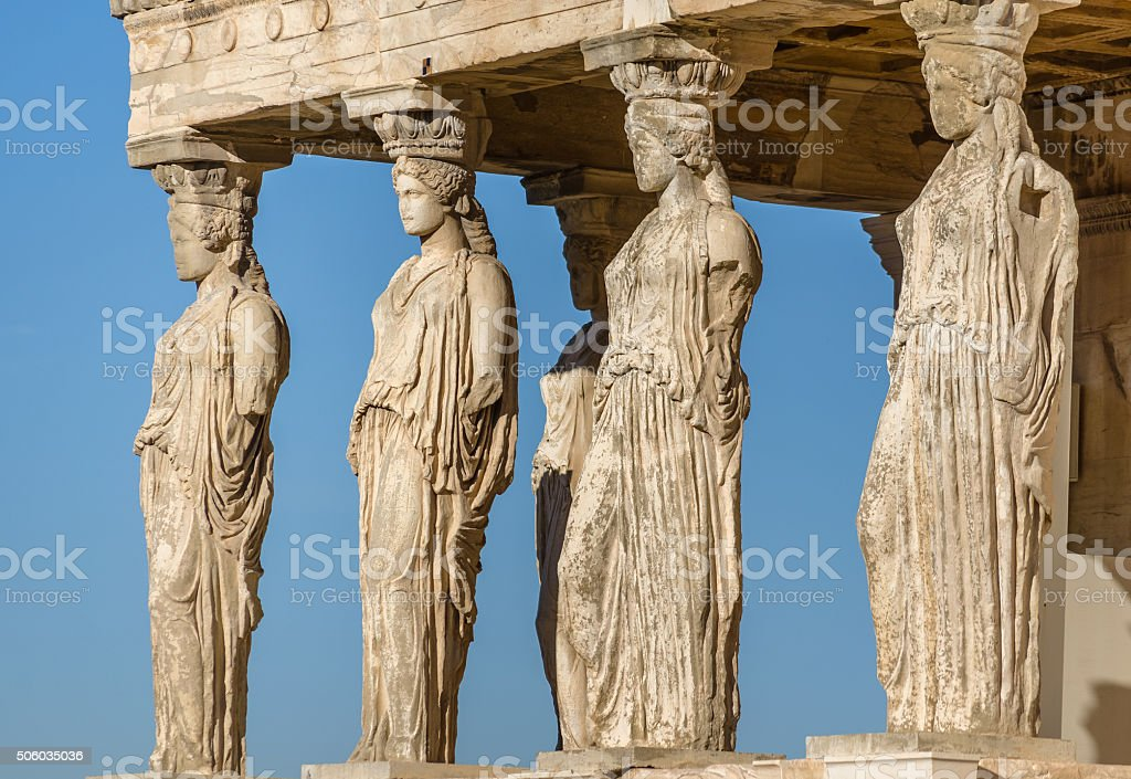 Statues of the Caryatids Greece stock photo