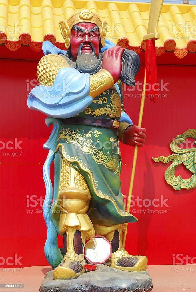 Statues of the Chinese emperor Guandu stock photo