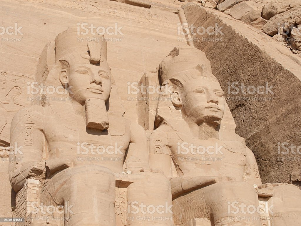 Statues of the Pharaohs in the Temple of Rameses stock photo
