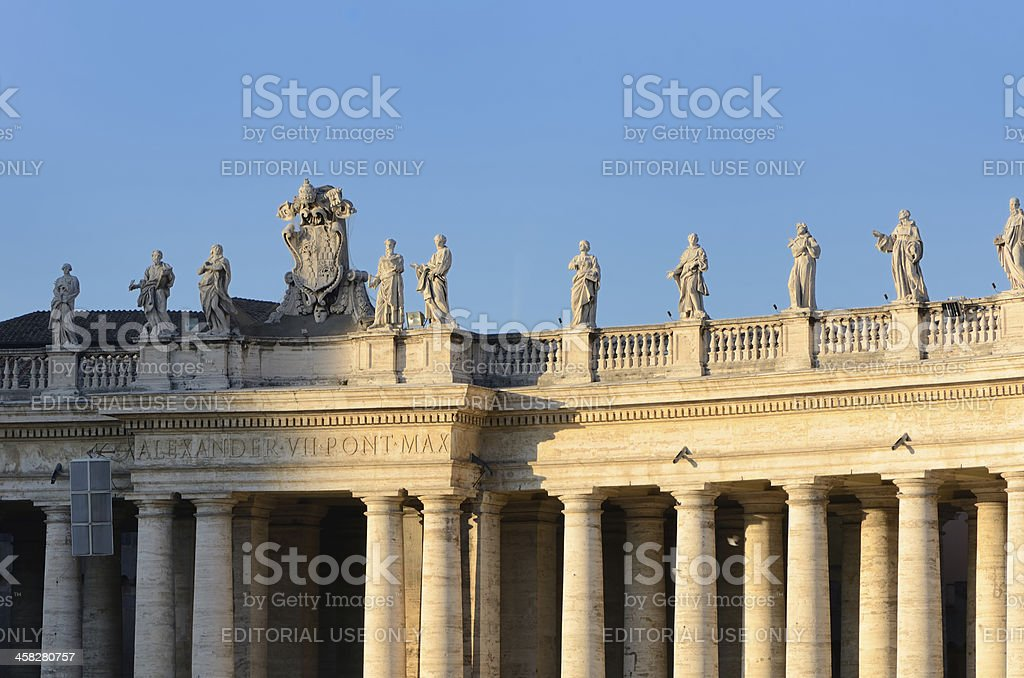 Statues on Bernini's Colonnade in Saint Peter's Square, The Vatican stock photo