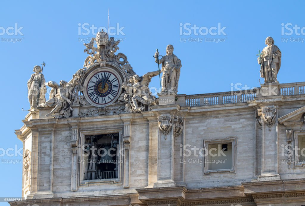 Statues on the Cathedral of St. Peter in Rome stock photo