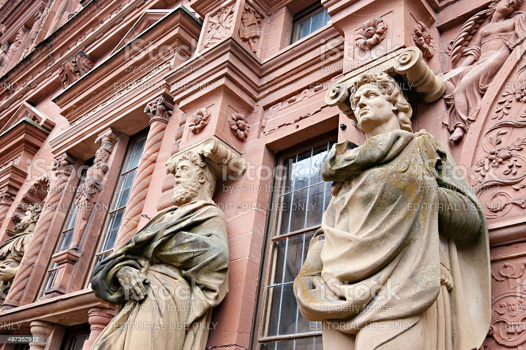 Statues on the facade of Heidelberger Schloss stock photo