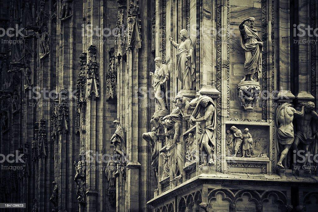Statues on the facade of Milan Duomo stock photo