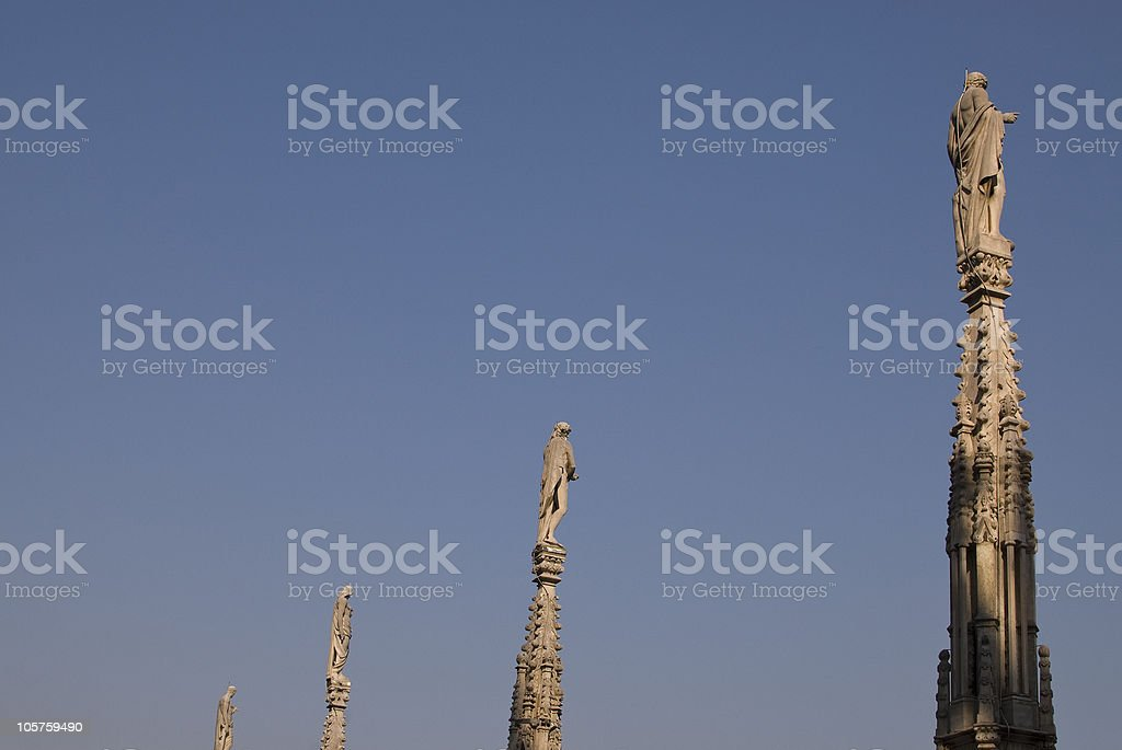 Statues on the top -  dome of milano royalty-free stock photo