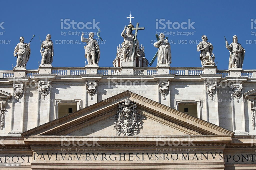 Statues on the top of Saint Peter Basilica facade royalty-free stock photo