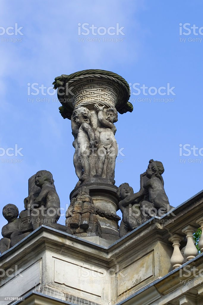 Statues on top of colonnades at Heinrich vom Kleist Park stock photo
