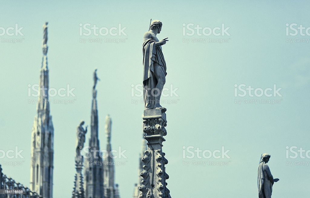 Statues on top of the Milan Cathedral royalty-free stock photo
