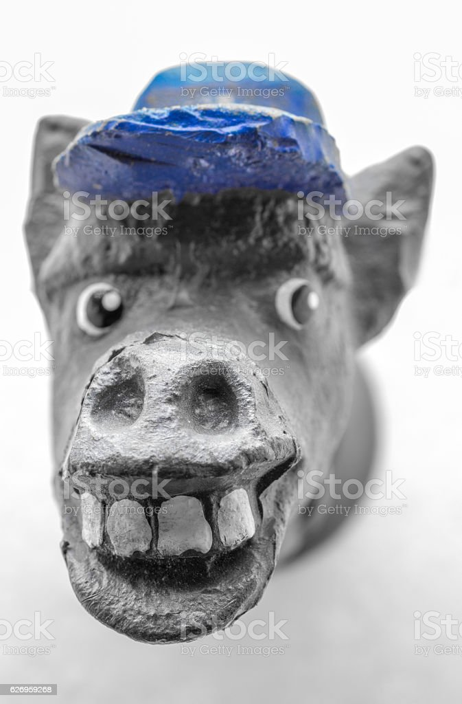 Statuette of a donkey head stock photo