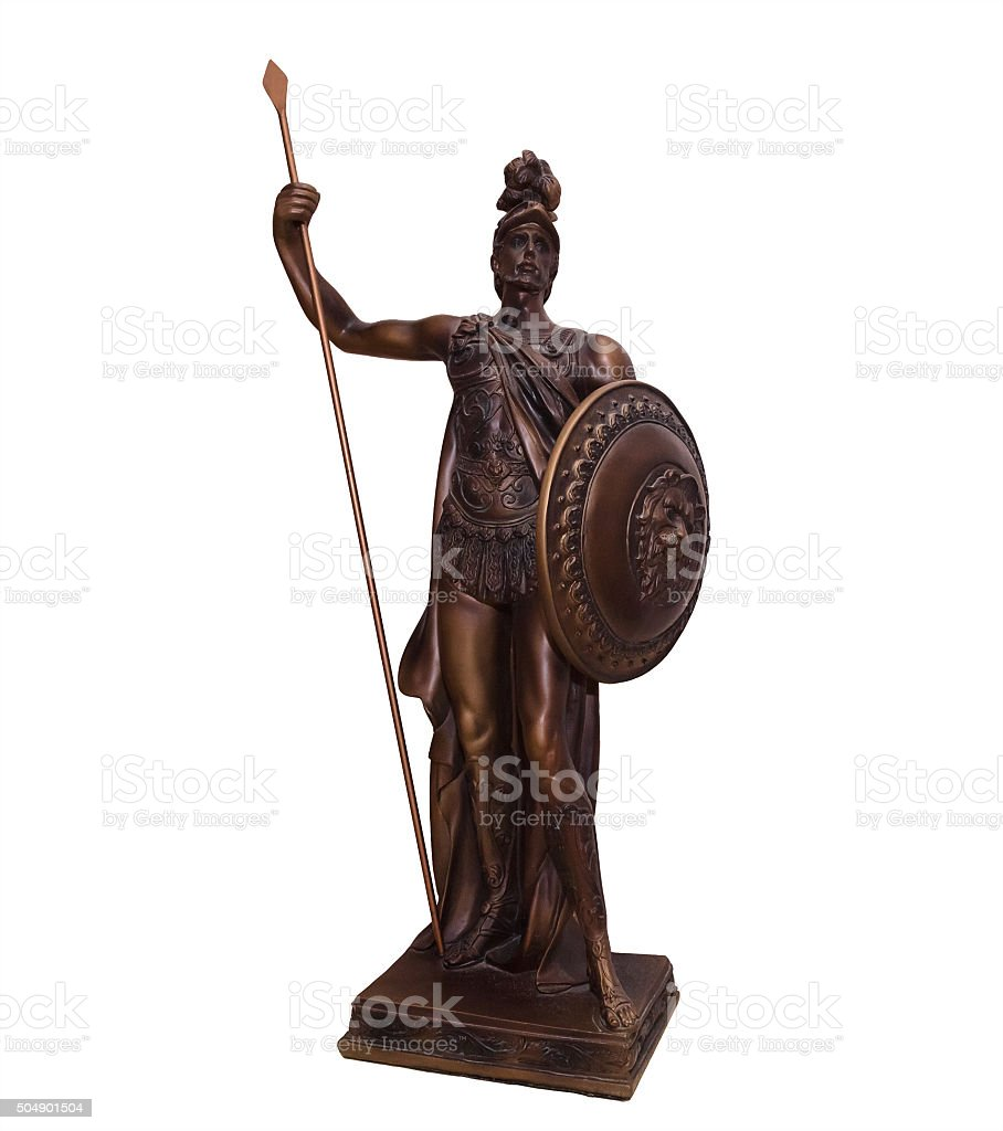 Statuette of the ancient warrior stock photo