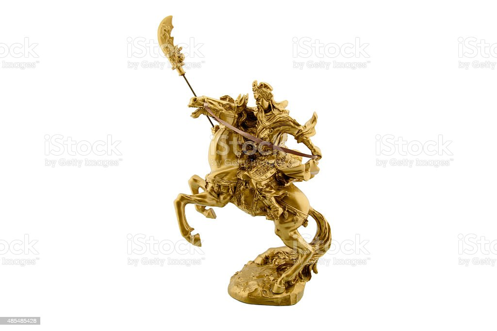 Statuette of the legendary Chinese general Guan Yu. stock photo