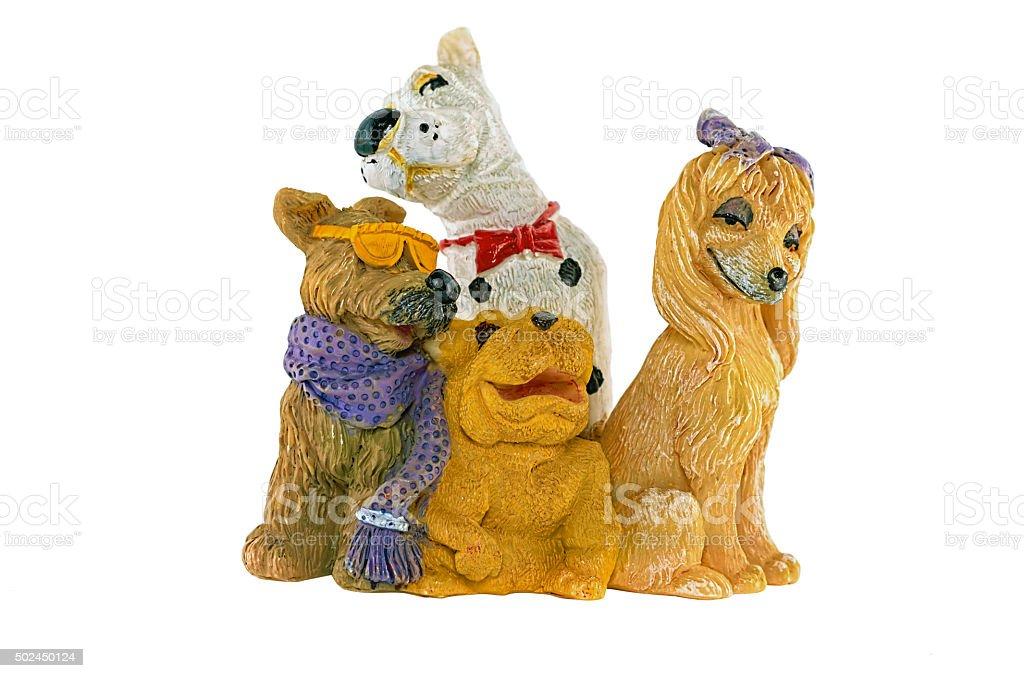 Statuettes Ceramic dogs stock photo