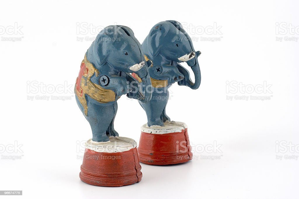 statuettes of elephants royalty-free stock photo