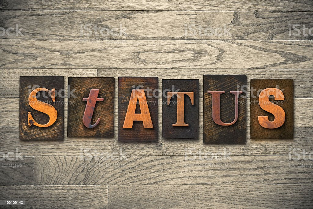 Status Concept Wooden Letterpress Type stock photo