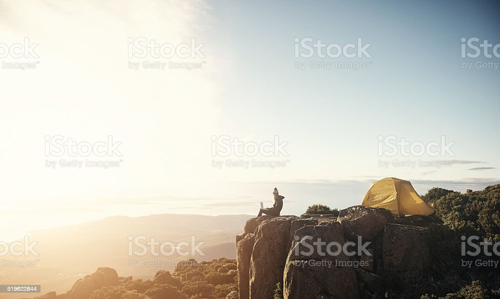 Status update: I feel on top of the world stock photo