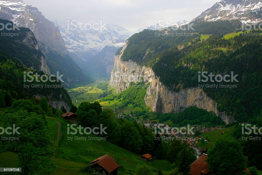 Staubbach falls, above Lauterbrunnen idyllic Valley countryside, Swiss Alps, Wengen stock photo