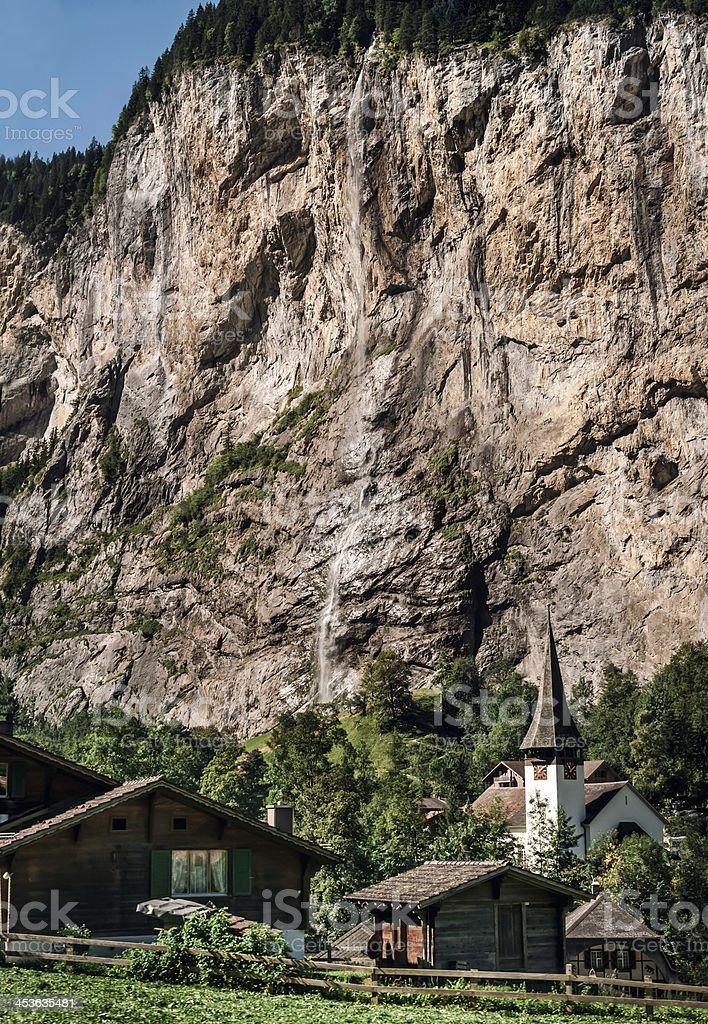 Staubbach Falls in Lauterbrunnen valley, Switzerland - VI stock photo